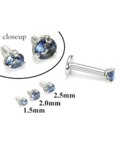 18g-16g Internally Threaded Replacement WHITE GOLD PRONG Dk. Blue