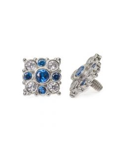 Internally Threaded 14kt White Gold Effloresce Crystal and Blue Jeweled Top