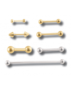 14g - 10g 14kt Solid Gold Straight Barbell