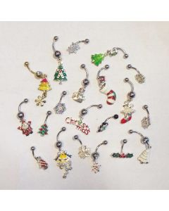 Closeout Christmas Grab Bag – 10 Assorted Holiday Belly Button Rings