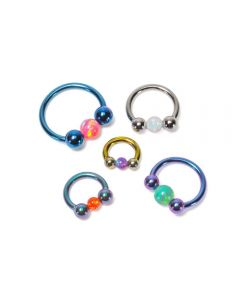 14g Internal Titanium Circular Barbell with Opal Captive Ball - Custom Made - Price Per 1