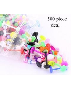 """16g, 3/8"""" PTFE Labret Mix with 3mm Balls - Price Per 500"""