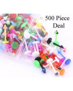 """16g 3/8"""" PTFE Labret Mix with 3mm Cones - Price Per 500"""