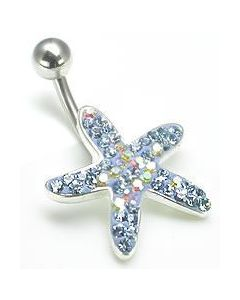 "14g 7/16"" Crystal Explosion Starfish of the Seas Belly Ring"
