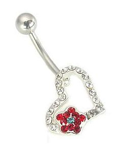 "14g 7/16"" Encrusted Jeweled Heart with Flower Belly Ring"