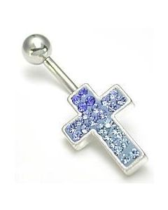Jewel Explosion Cross Belly Button Ring