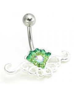 Jewel Explosion Tribal Heart Belly Button Ring