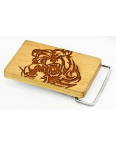 Wooden Engraved Bear Belt Buckle on Jackfruit Wood