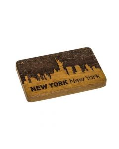 New York Engraved Wooden Belt Buckle on Jackfruit Wood