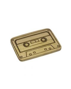 Cassette Tape Engraved Wooden Belt Buckle on Crocodile Wood
