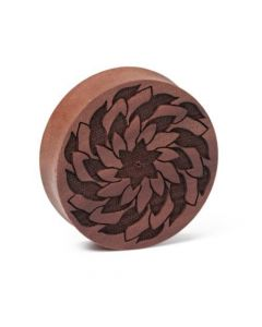Agni Mandala Engraved Solid Wood Plug Close Up
