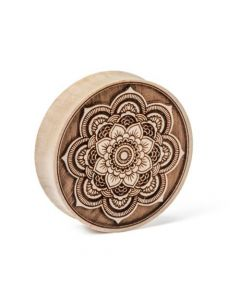 Devi Mandala Engraved Solid Wood Close Up