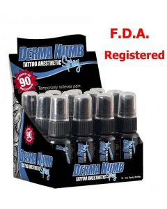 Derma Numb Tattoo Topical Anesthetic Spray - 1oz - Case of 12 Bottles