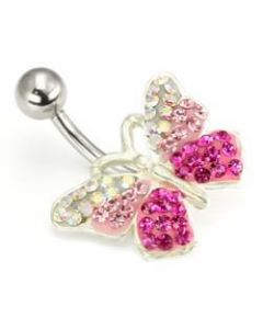 Pretty in Pink Crystal Explosion Butterfly Belly Button Ring