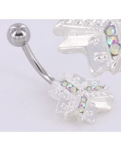 Crystal Explosion Snow Flake Winter Belly Button Ring