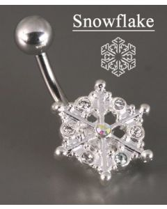 Crystal Explosion Snow Flake Winter Season Belly Button Ring