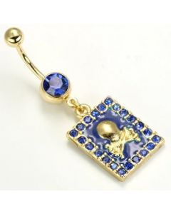 "14g 7/16"" Gold Tone Dark Blue Jewel Belly Button Ring with Framed Skull n' Bones Charm"