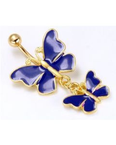 "14g 7/16"" Gold Tone Dark Blue Butterfly and Baby Dangle Belly Button Ring"