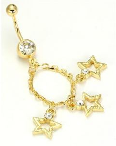 "14g 7/16"" Gold Tone Crystal Jewel Belly Button Ring with 3 Star Charms"