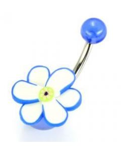 "14g 7/16"" Dark Blue Fimo Flower Belly Button Ring"