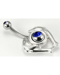 14g Double Dolphin Navel Shield with Double Jeweled Belly Button Ring
