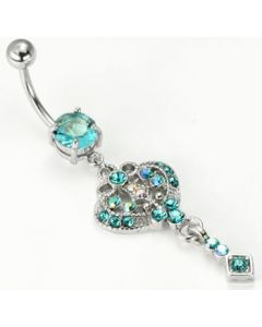 "14g 7/16"" Chic Dangle Charm Prong-Set Jewel Belly Button Ring Aqua"