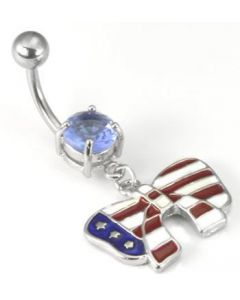 "14g 7/16"" Bow USA Flag Belly Button Ring"
