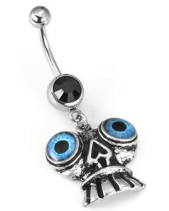 "14g 7/16"" Black Gem with Freaky Eyes Belly Ring"