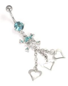 "14g 7/16"" Aqua Skull and 3 Hearts Belly Button Ring"