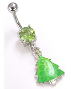 "14g 7/16"" Christmas Tree Dangle Charm Belly Ring"
