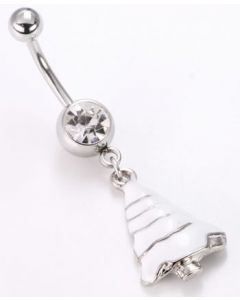 "14g 7/16"" Crystal Snow White Christmas Belly Button Ring"