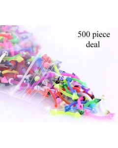 "16g 3/8"" Eyebrow PTFE Bent Barbells with Acrylic Cones - Price Per 500"