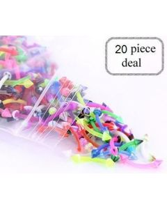 "16g 3/8"" Eyebrow PTFE Bent Barbells with Acrylic Cones - Price Per 20"