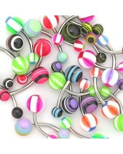 "14g 7/16"" Mixed Acrylic Belly Button Rings - Price Per 10"