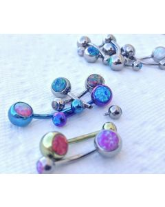 "14g Internal 3/8"" Double Opal Titanium Belly Button Ring"