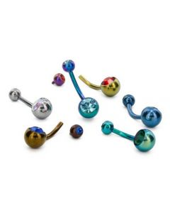 "14g Internal 7/16"" Double Jeweled Titanium Belly Button Ring (Thumbnail)"