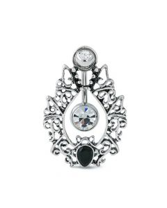 Baroque Wreath Navel Shield with Crystal Jeweled Belly Button Ring (Thumbnail)