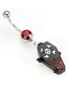 Soul Coffin Dangle Belly Button Ring