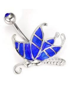 Painted Butterfly Wings Belly Button Ring