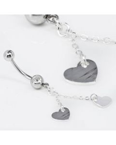 Crystal Jewel with 2 Dangling Hearts Belly Button Ring