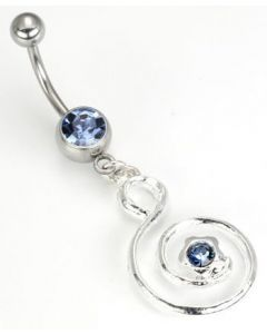Light Blue Jewel with Musical Swirl Dangle Belly Button Ring