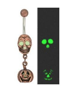 Skull-O-Lantern Belly Button Ring