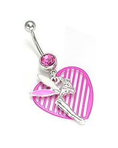 Pink Jewel with Tinker Fairy Dangle Belly  Button Ring