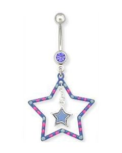 Double Star Hand Painted Belly Button Ring