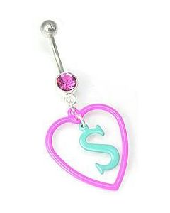 Sweet Heart Dangle Belly Button Ring