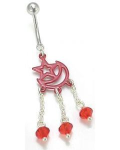 Red Star and Moon Dangle Belly Button Ring