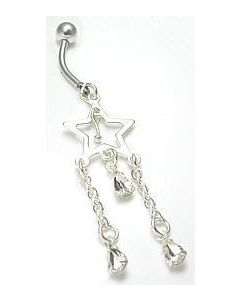 Center Star with Elegant Triple Teardrop Dangle Belly Button Ring