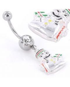 Jolly Christmas Snowman Belly Button Ring