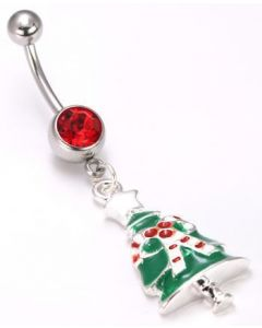 Christmas Tree Dangle Belly Button Ring