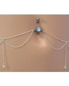 Aqua Jewel Belly Button Ring with Dangles Belly Chain